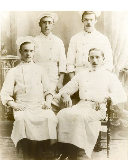 Lewis's great grandfather Charles (front, right) at Dunns circa 1906.