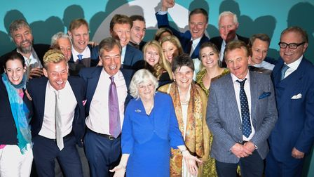 Brexit Party leader Nigel Farage poses with newly elected Brexit Party MEPs, including Annunziata Re
