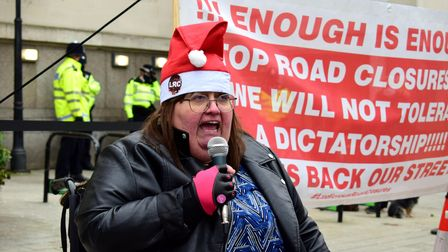 Ludicrous Road Closures (LRC) static demonstration outside Islington Town Hall on 12.12.20. Speaker,