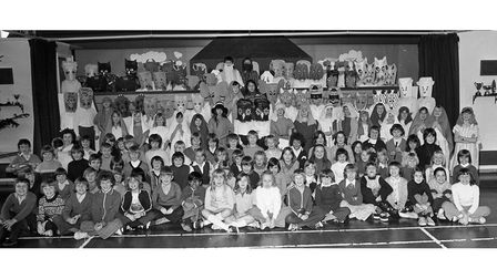The cast of the Christmas play at Sprites Primary School, Ipswich, in December 1976