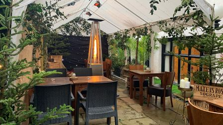 The winter garden at The Maids Head Hotel in Norwich