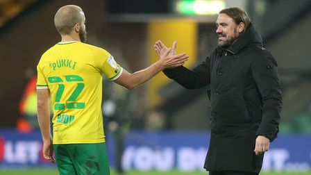 Teemu Pukki of Norwich and Norwich Head Coach Daniel Farke at the end of the Sky Bet Championship ma
