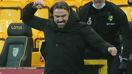 Norwich Head Coach Daniel Farke punches the air with delight at the final whistle at the end of the