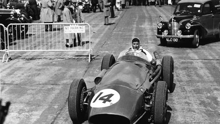 Italian racing driver Maria Teresa de Filippis, the first female to compete in Formula One, in her M