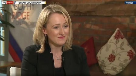 Rebecca Long-Bailey is interviewed by Sophy Ridge. Photograph: Sky.