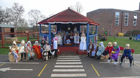 Valley Primary Academy pupils rehearsing their nativity play in school farm outdoor classroom.