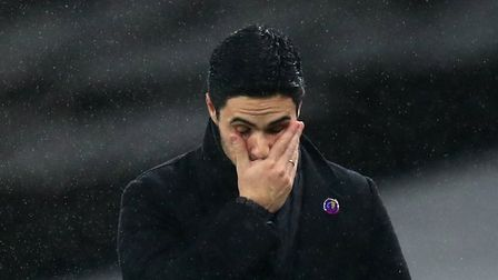 Arsenal manager Mikel Arteta dejected on the touchline during the Premier League match at Emirates S