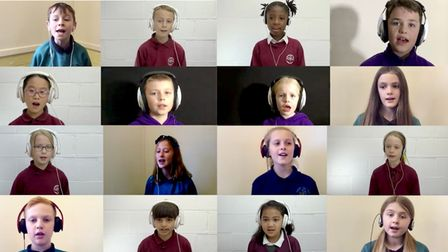 Pupils recording the Song Cycle at St Francis, St Michael's and Sprowston schools.