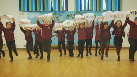 Pupils at St Michael's V.A. Junior School rehearsing '2020_ You Won't Hold Me Back!'.