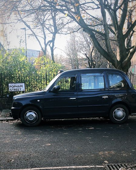 Josh Kelly's taxi in Popham Street, from where his company's name originates.