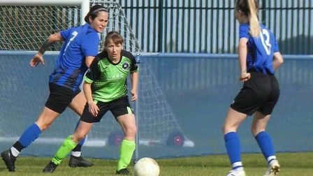 Faye Kowalewsky (green) and Amy Newell said they cannot wait to play for Leverington Ladies and project a healthy future...