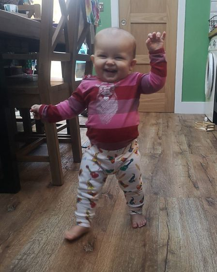 Baby Connie from St Albans loving her Lil' Cubs leggings. Picture: Supplied