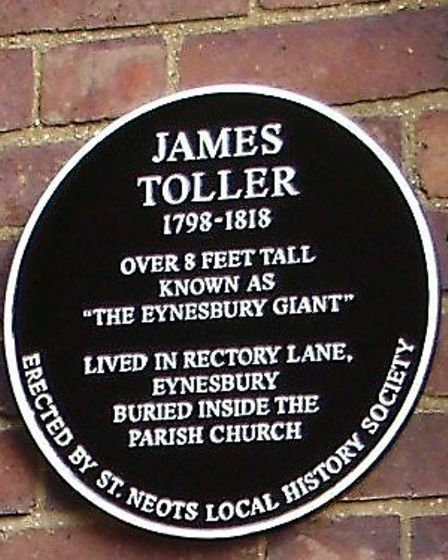 The St Neots Local History Society erected this plaque to remember James Toller.