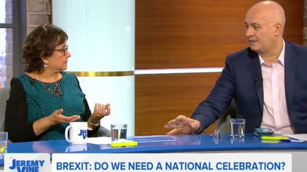 Yasmin Alibhai-Brown and Iain Dale debate plans for Brexit celebrations. Photograph: Channel 5.