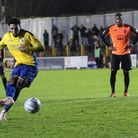 Shaun Jeffers scores from the spot for St Albans City against Tonbridge Angels. Picture: JIM STANDEN