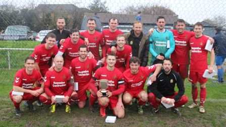 Skew Bridge celebrate winning the Knockout Cup against Blackberry Jacks. Picture: BRIAN HUBBALL