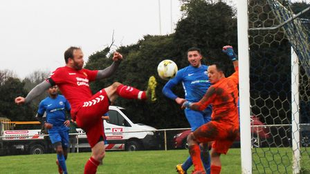 Mark Hitchcock puts Skew Bridge ahead in the Knockout Cup final against Blackberry Jacks. Picture: BRIAN HUBBALL