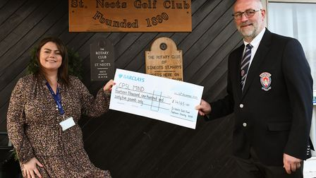 Steven Whitney giving a cheque to CPSL Mind PICTURE: Archant