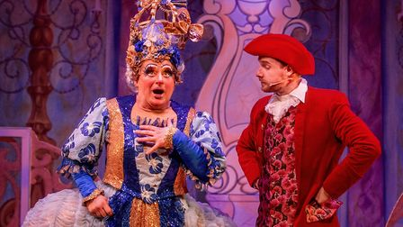 Matt Crosby as Dame Trott and Justin-Lee Jones as Baron Hardup in Dame Trott's Panto Palaver at Cambridge Arts Theatre.