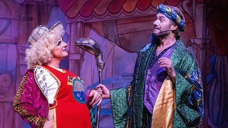 Matt Crosby as Dame Trott and Stephen Beckett as Count Covidula in Dame Trott's Panto Palaver at Cambridge Arts Theatre.
