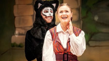 Justin-Lee Jones as Tommy the Cat and Lucy May Barker as Dick Whittington in Dame Trott's Panto Palaver at Cambridge Arts...