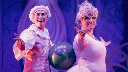 Isaac Stanmore as Wishee-Washee and Matt Crosby as Dame Trott in Dame Trott's Panto Palaver at Cambridge Arts Theatre.