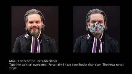Matt Adams, group editor of the Herts Advertiser, as photographed for the Pandemic Portraits project by Nic Madge.