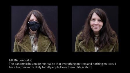 Laura Bill, reporter for the Herts Advertiser, as photographed for the Pandemic Portraits project by Nic Madge.