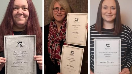 From left: Nicola Lucas won the lifetime achievement award for 25 years of service, Sue Baker won overall employee and...