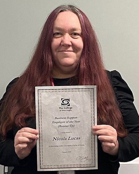 Nicola Lucas won the lifetime achievement award for 25 years of service at the College of West Anglia staff awards event.
