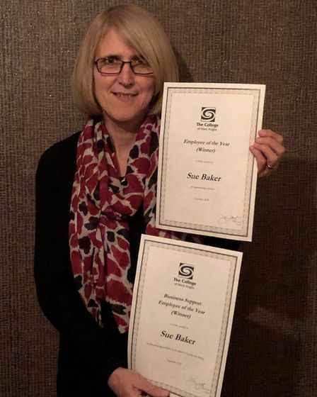 Sue Baker won overall employee and business support employee of the year at the College of West Anglia staff awards event.