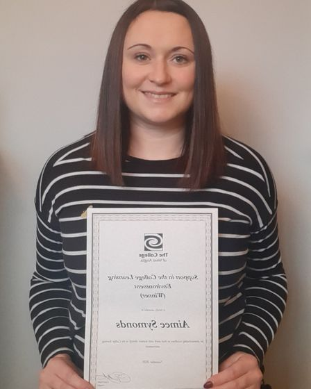 Aimee Symonds won the award for support in the learning environment at the College of West Anglia staff awards event.