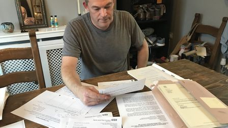 Tony Farrugia has amassed a huge amount of paperwork relating to his father's death.