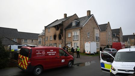 Emergency services at the scene of a house fire on Buttercup Avenue, Eynesbury, Cambridgeshire, in which a three-year-old boy...
