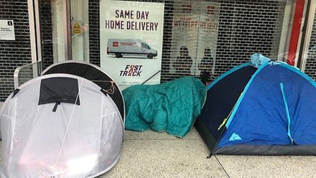 Homeless people have set up tents outside Argos in St Albans city centre. Picture: Laura Bill
