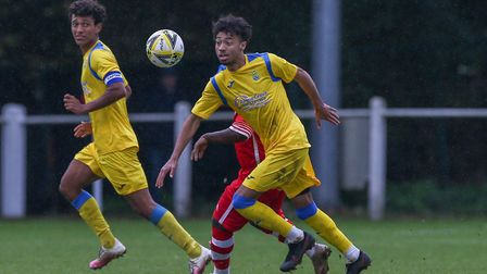 Mulik Rickman bagged the all-important second goal for Harpenden Town against Arlesey. Picture: DANNY LOO