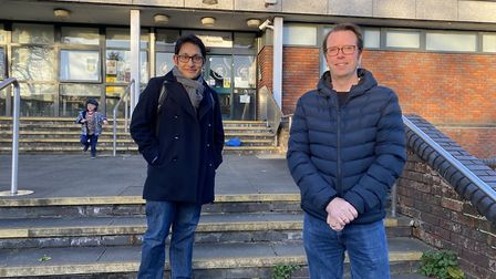 Alban City School dads Ron Dasgupta and Gordon Baisley are taking part in a Movember walking event.
