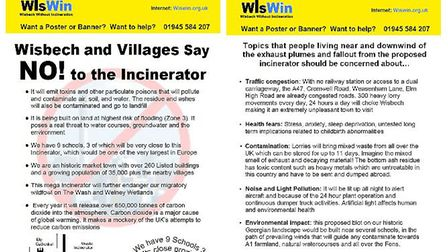 WisWIN have released a new flyer arguing why it doesn't want the incinerator which is being proposed in Wisbech. Pictures:...