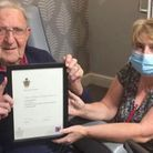 Staff and residents at Lyncroft Care Home in Wisbech celebrated with resident Leslie Maleham who has been awarded an honorary...
