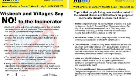 WisWIN has released a new flyer arguing why it doesn't want the incinerator which is being proposed in Wisbech. Pictures...