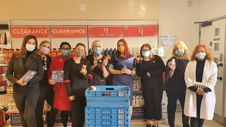 Beauty staff at Boots are donating toiletries for St Albans Foodbank instead of giving Christmas cards. Picture: Wendy...
