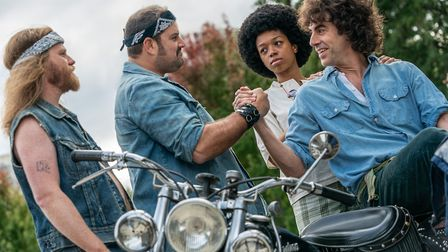 The Trial of the Chicago 7 stars Sacha Baron Cohen as Abbie Hoffman. Picture: Niko Tavernise / Netflix.