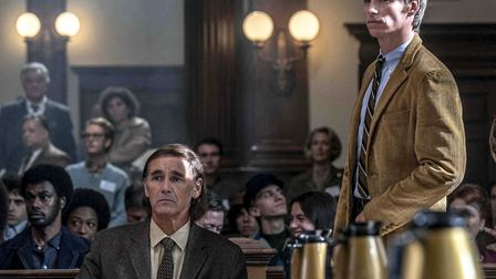 Mark Rylance as William Kunstler and Eddie Redmayne as Tom Hayden in The Trial of the Chicago 7. Picture: Niko Tavernise/NETF...