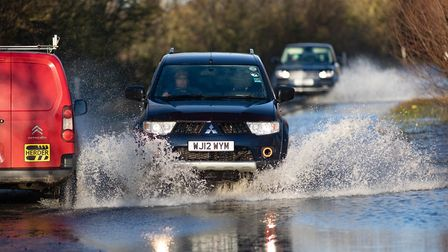 WEATHER -Flooding of the A1101 Nr Welney,