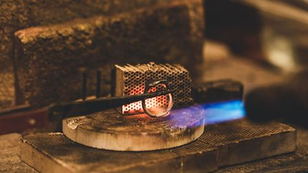 A Metal Crumble ring being forged in the Stoke Newington shop.