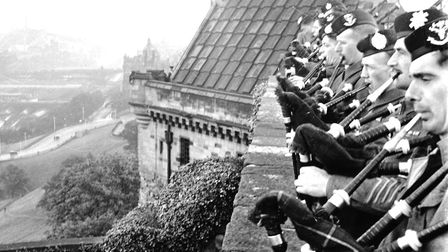 19th August 1946: Army pipers playing the bagpipes at Scotland's School of Classic Bagpipe Playing