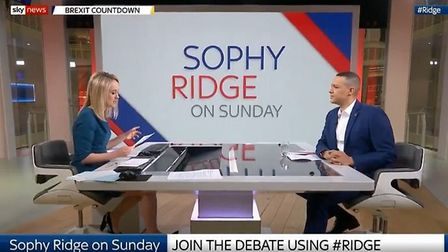 Clive Lewis is interviewed by Sophy Ridge. Photograph: Sky.