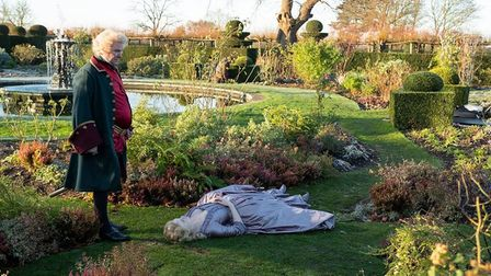 Catherine the Great lying flat out in the garden