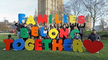 Children from Oaklands Secondary School in Bethnal Green and Families Belong Together campaigners in