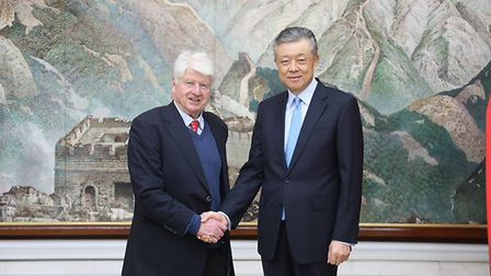 Stanley Johnson with Liu Xiaoming. Photograph: Twitter.